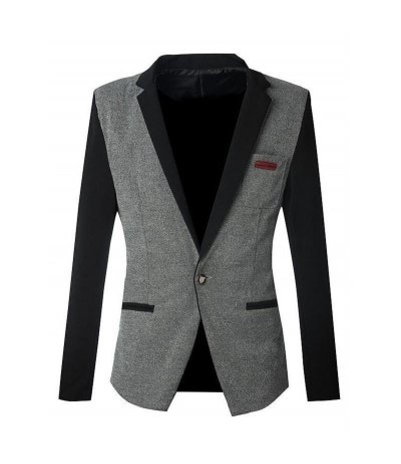 Notch Lapels Color Block Spliced Slim Fit Casual Blazer For Men