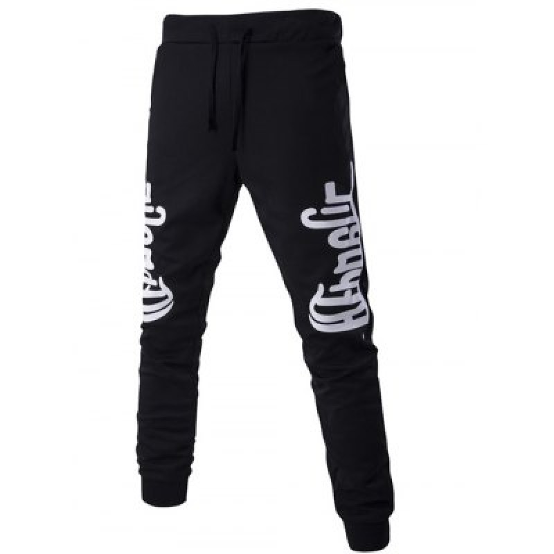 Lace-Up Letters Print Beam Feet Pants For Men
