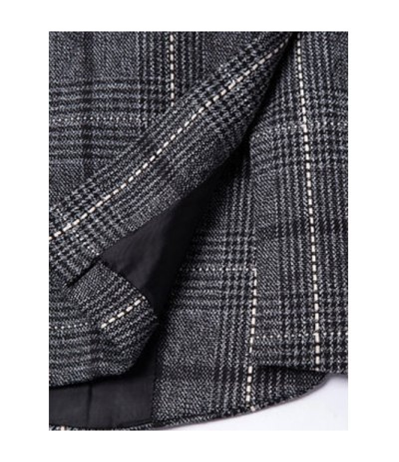 Vintage Notched Lapel Collar Single Button Slim Fit Striped Blazer For Men