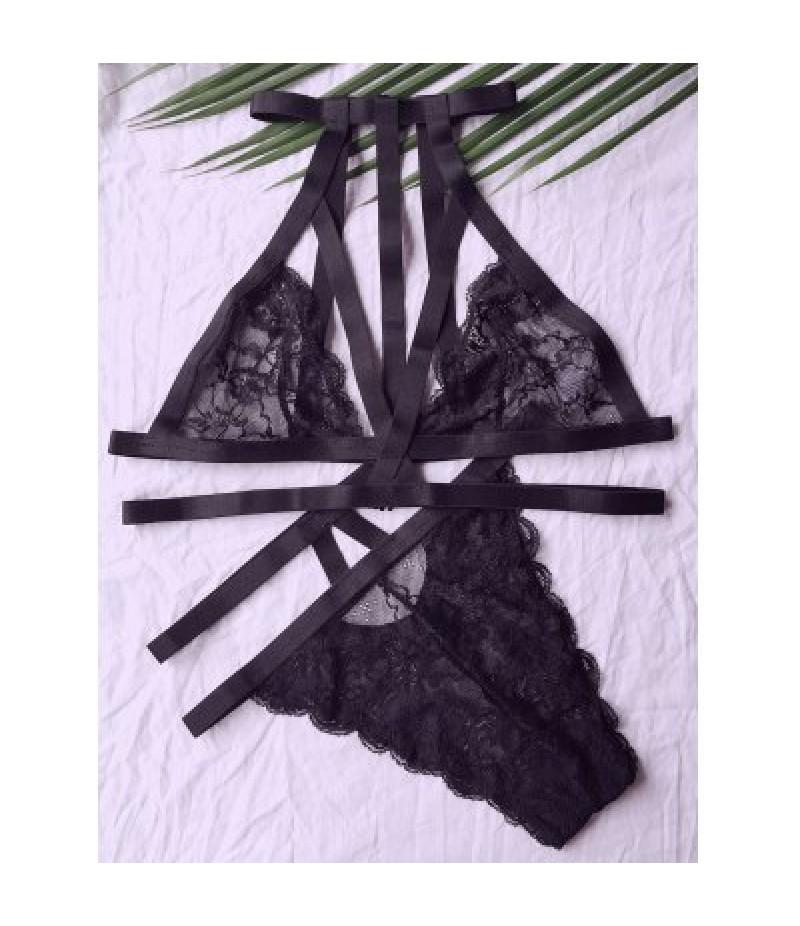 Alluring High Neck Lace Black Women's Bra Set