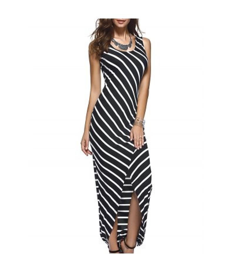 Asymmetric Striped Tank Maxi Dress