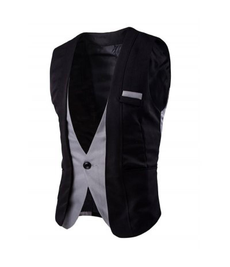 Buckle Back Color Splicing One Button Vest For Men