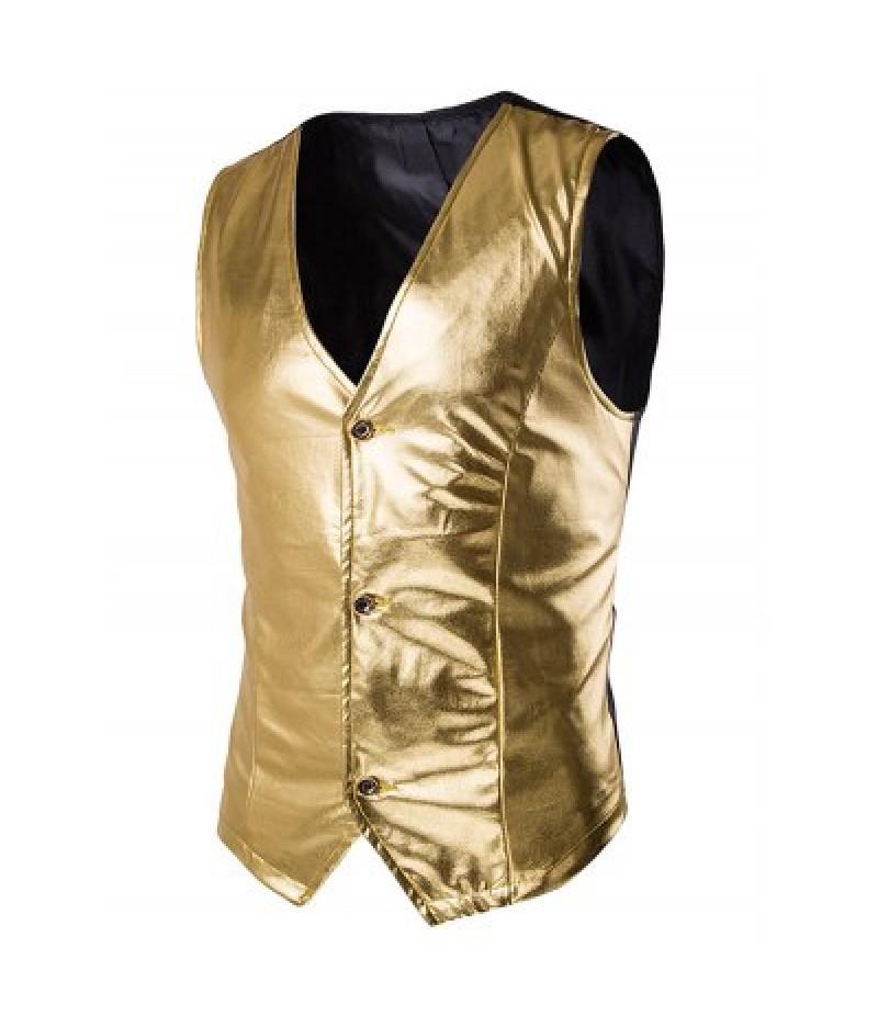Metallic Spliced Single Breasted Vest For Men