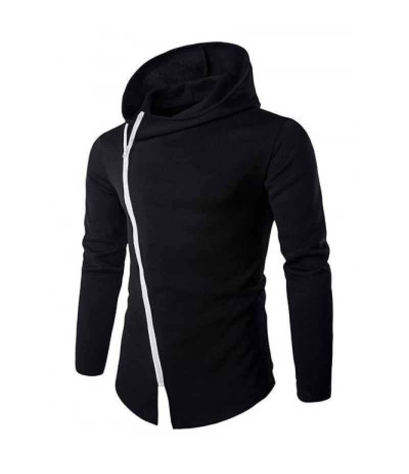 Izzumi Diagonal Zipper Design Long Sleeve Hoodies