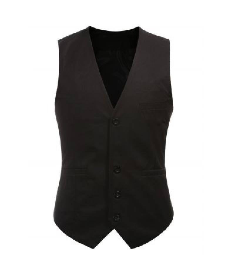 Buckle Back Solid Color Single Breasted Vest For Men