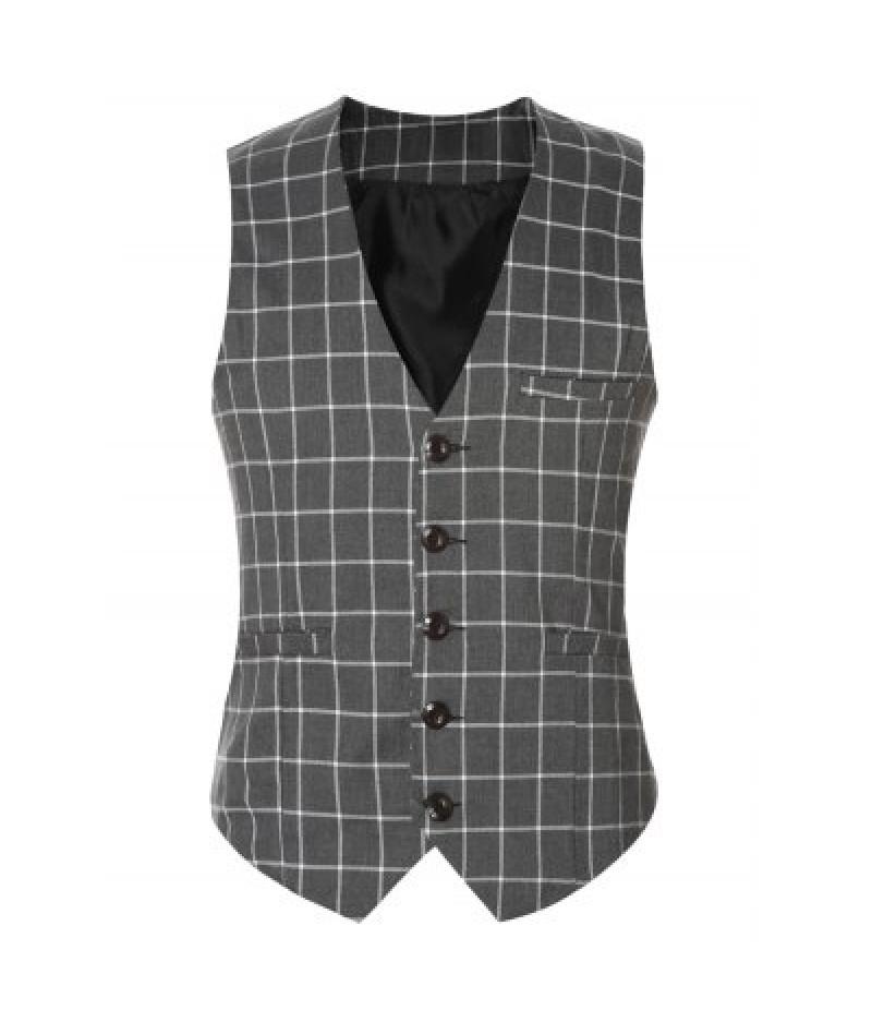 Buckle Back Plaid Single Breasted Vest For Men