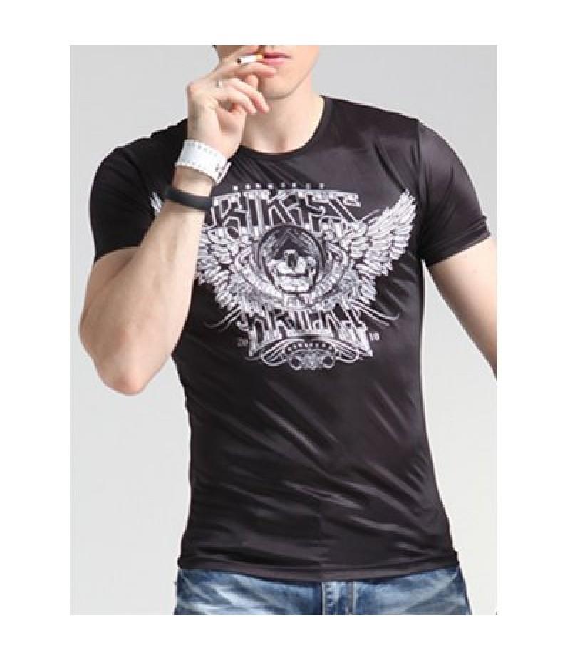Wings Print Round Neck Short Sleeve T-Shirt For Men