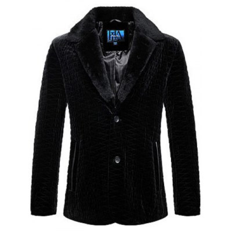 Rhombus Pattern Fur Lapel Long Sleeve Coat ODM Designer