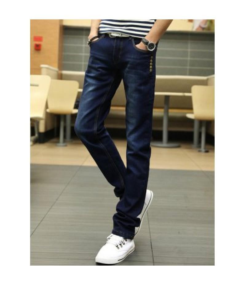 Buttons Design Zipper Fly Slim Fit Jeans