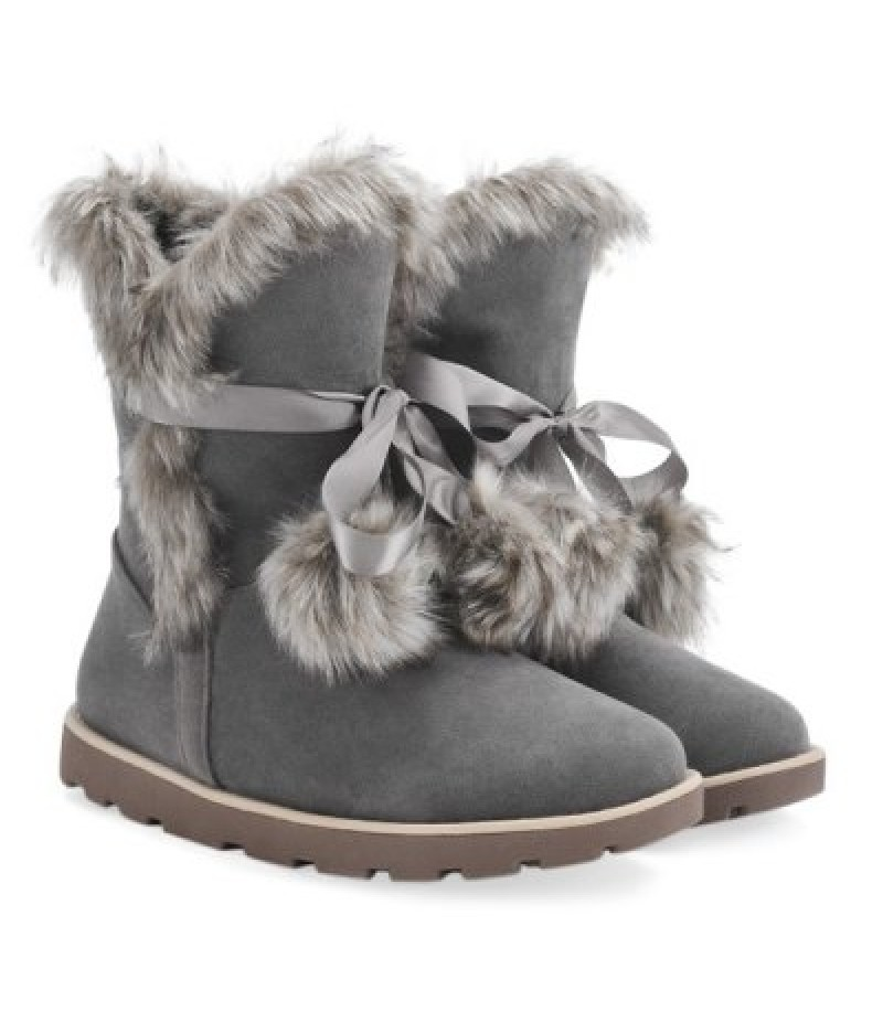 Lace Up Hairball Fuax Fur Flat Snow Boots