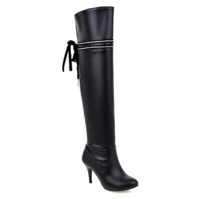 Rhinestones Lace Up Thigh Boots