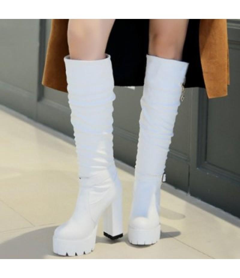 Chunky Heel Buckle Strap Knee High Boots