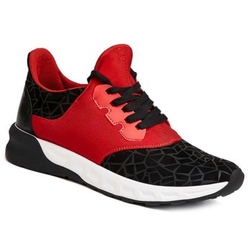 Lace-Up Geometric Print Flock Athletic Shoes