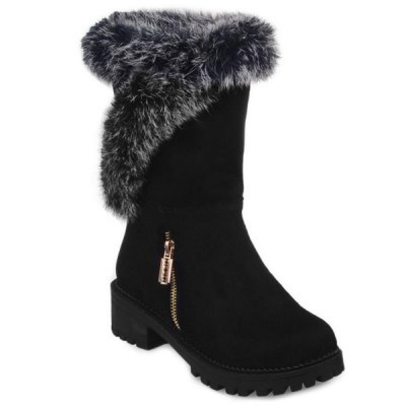 Suede Faux Fur Zipper Mid Calf Boots