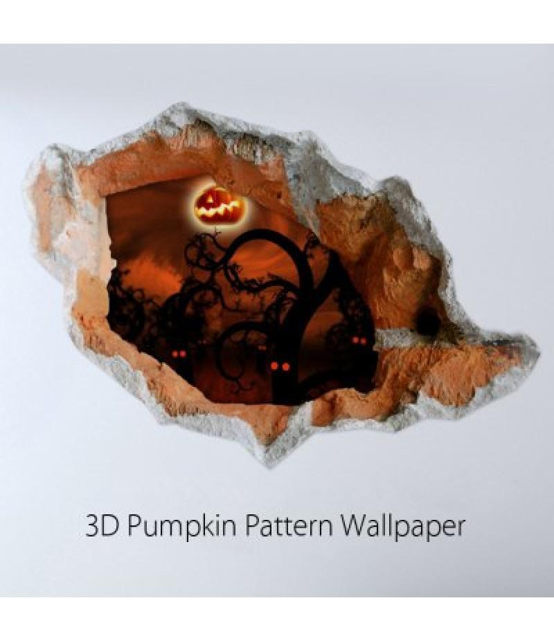 3D Pumpkin Pattern Crack Wall Sticker Wallpaper