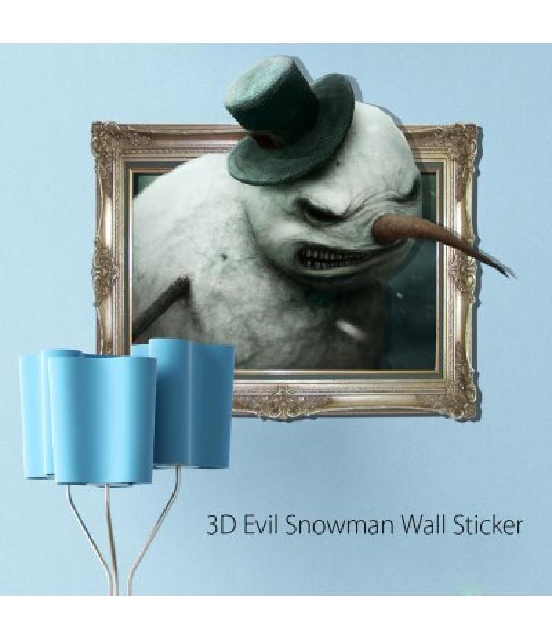 3D Evil Snowman Wall Sticker Wallpaper