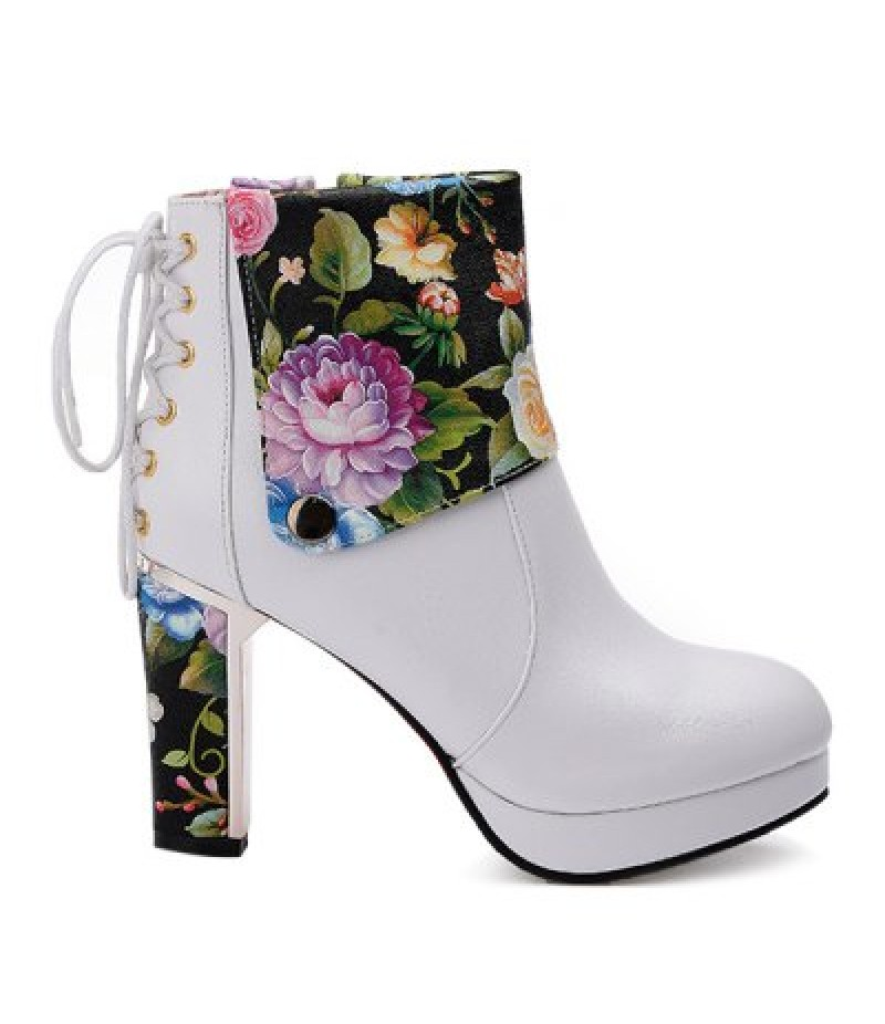Floral Print Chunky Heel Ankle Boots