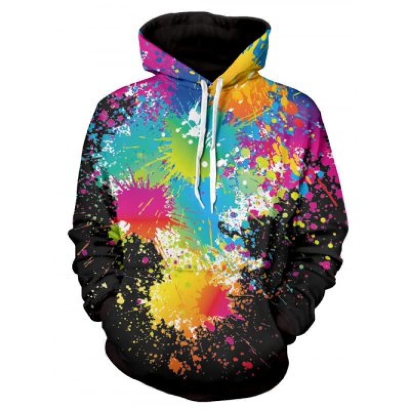 Paint Splatter Print Long Sleeve Pullover Hoodie