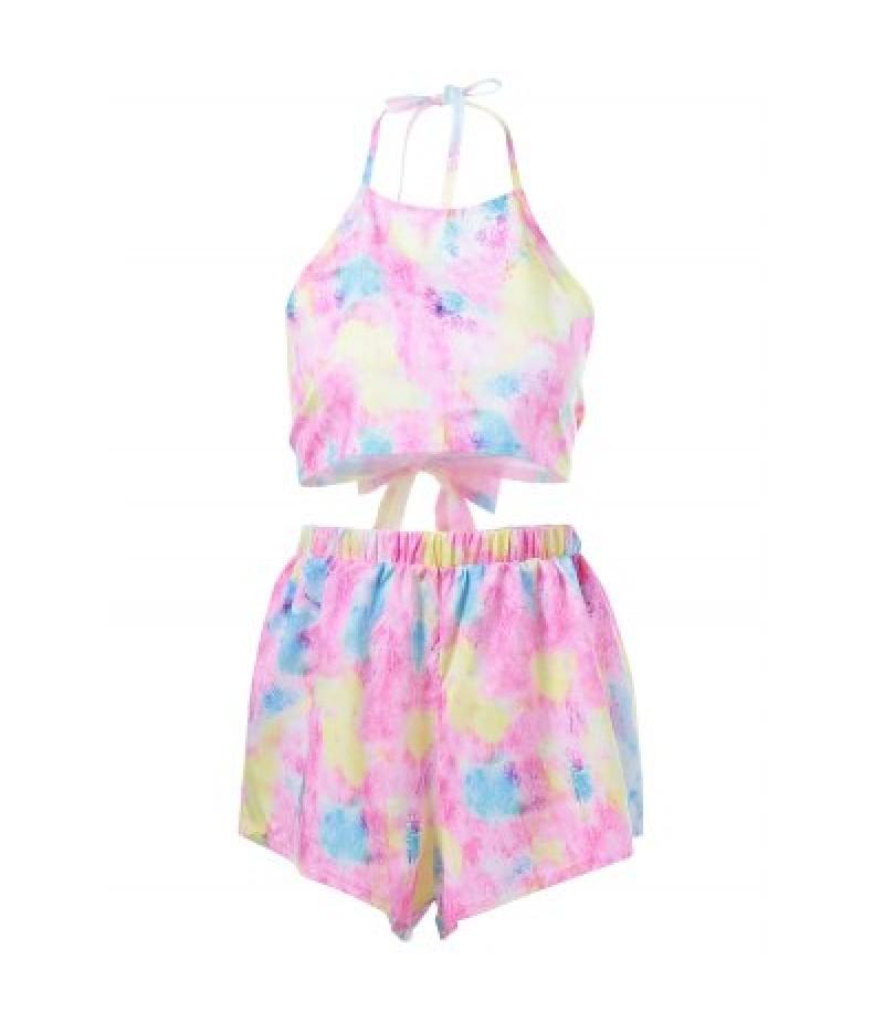 Backless Tie-Dye Crop Top + Pastel Shorts Women