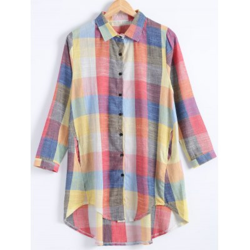 Plus Size Button Up Checked Linen Shirt Dress