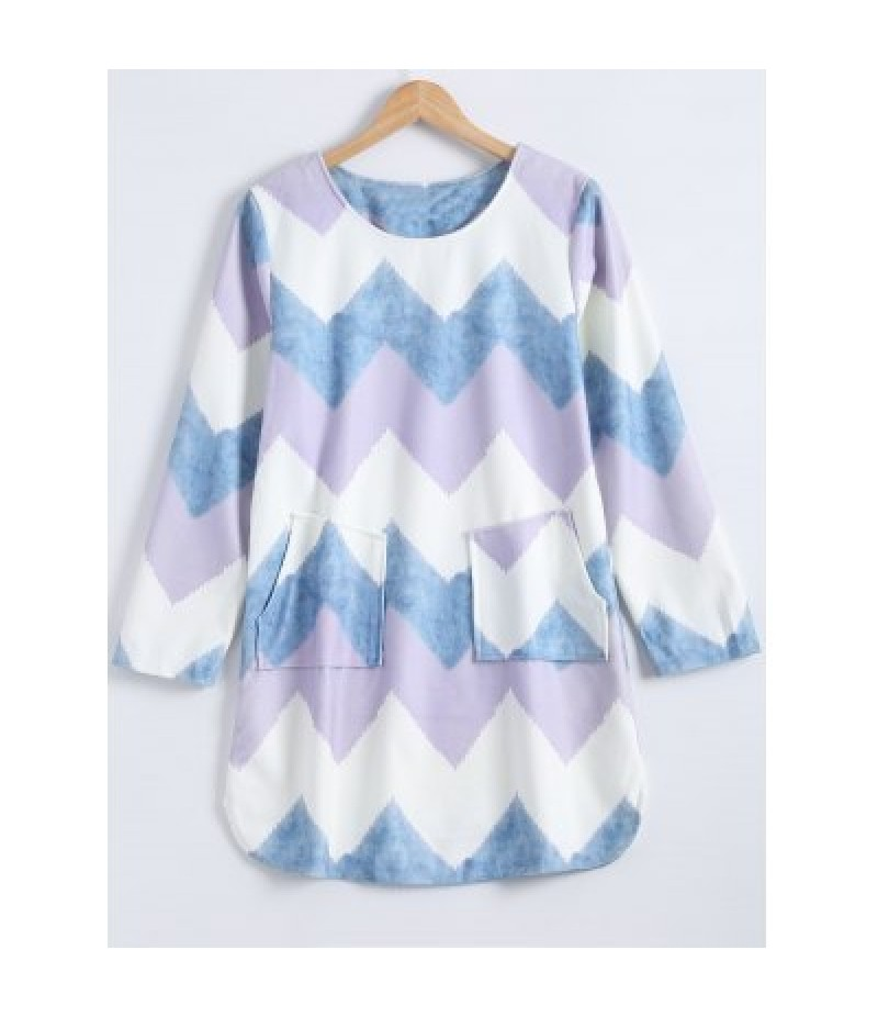Colorful Zigzag Front Pockets Embellished Dress