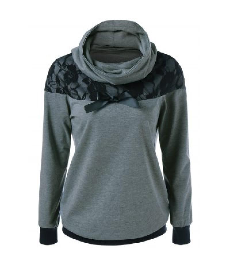 Lace Patchwork Bowknot Embellished Sweatshirt