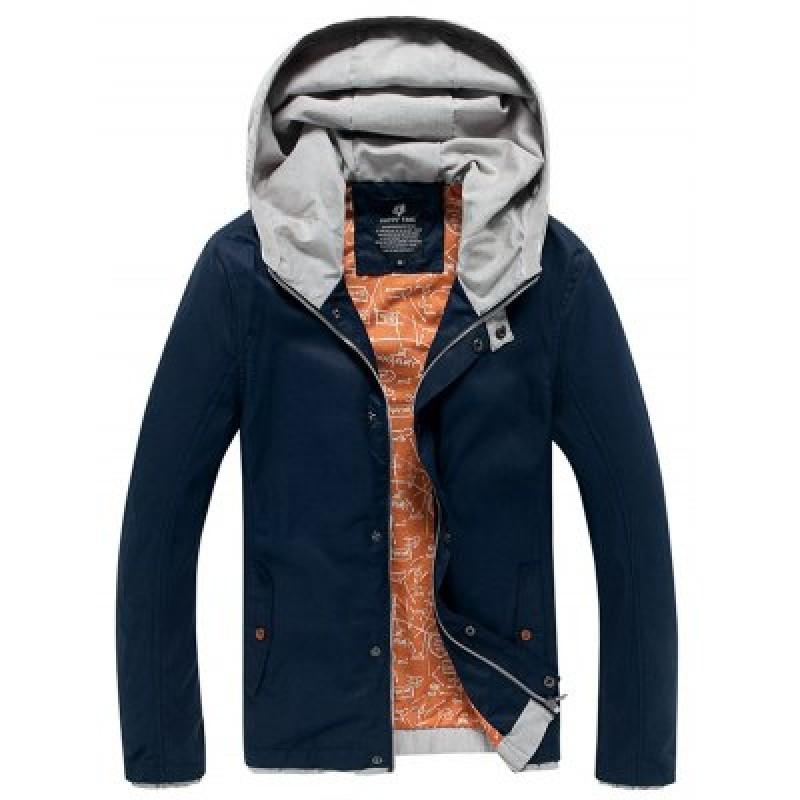 Color Block Splicing Hooded Zip-Up Jacket