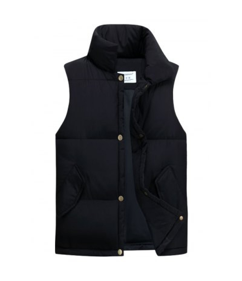 Casual Stand Collar Thicken Cotton-Padded Waistcoat