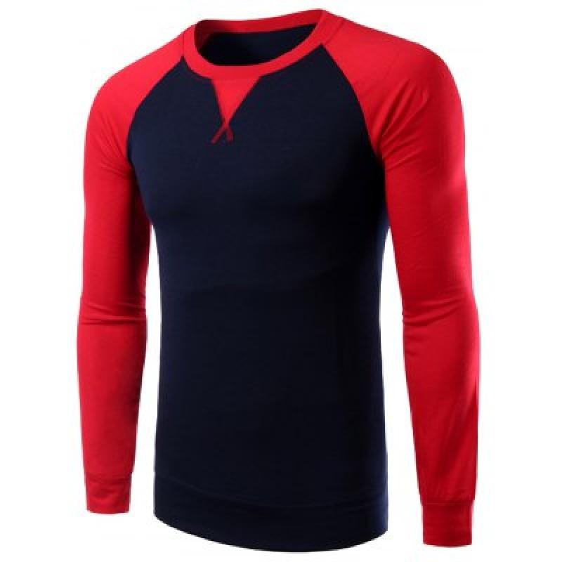 Color Splicing Round Collar Raglan Sleeve T-Shirt