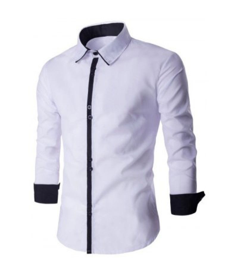 Single Breasted Long Sleeve Spliced Design Shirt