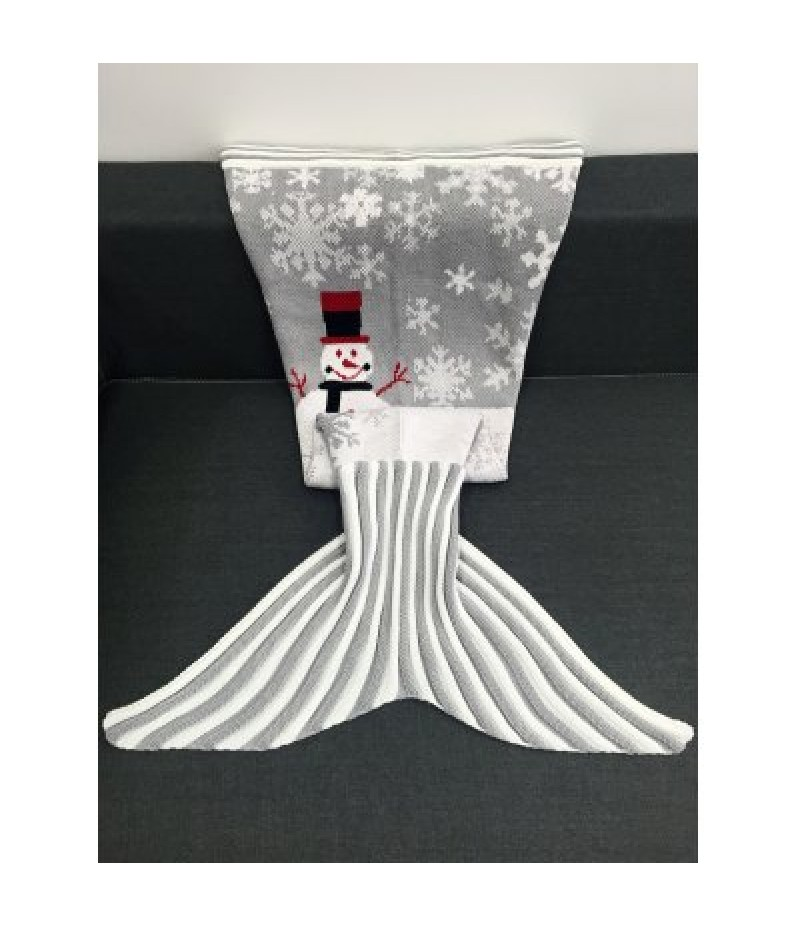 Christmas Snowman Pattern Knitted Mermaid Tail Blanket
