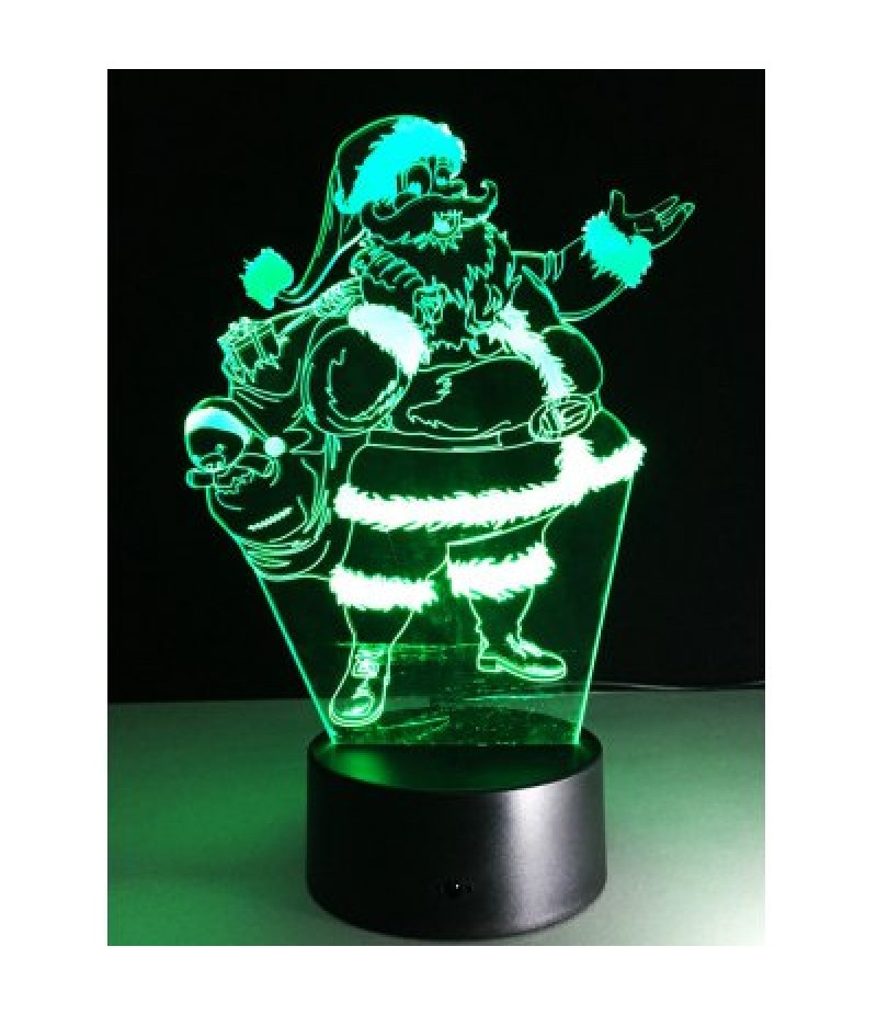 3D Christmas Santa Claus Shape Touch Colorful Night Light
