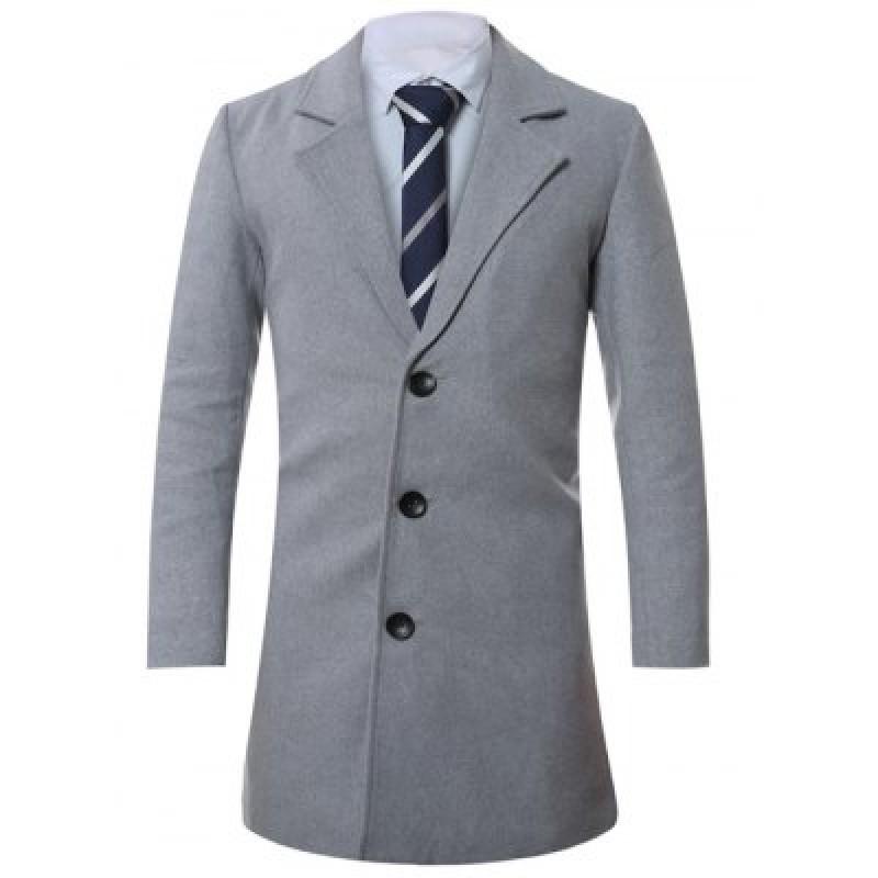 Lapel Single-Breasted Lengthen Wool Coat