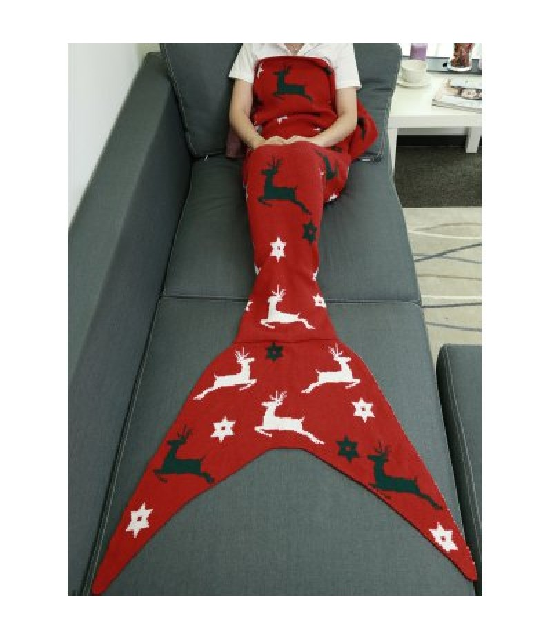 Comfortable Christmas Deer Wrap Mermaid Knitted Blankets and Throws
