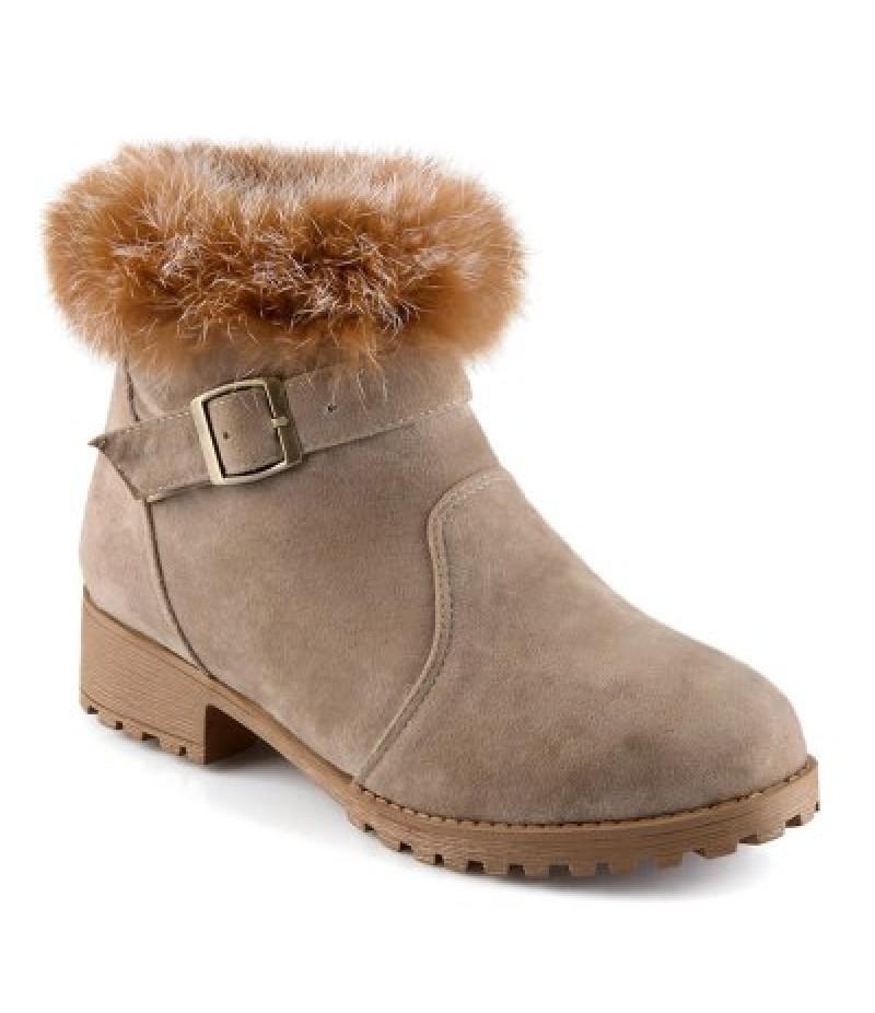 Buckle Faux Fur Suede Short Boots