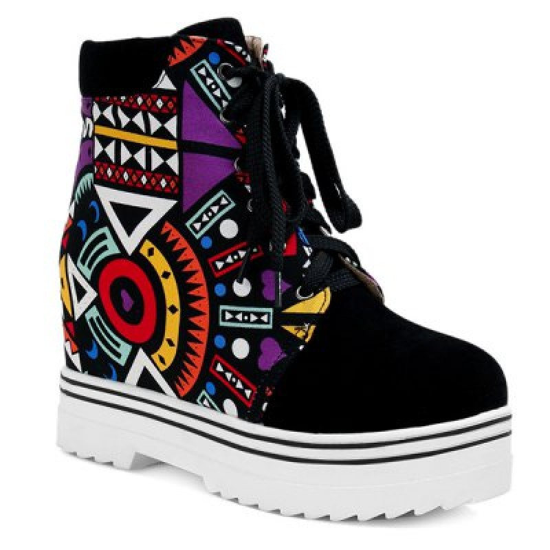 Splicing Geometric Pattern Tie Up Ankle Boots