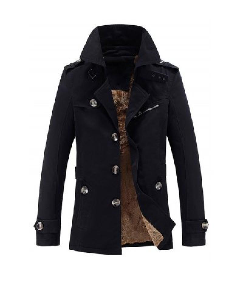 Turn-Down Collar Epaulet Embellished Single-Breasted Fleece Coat