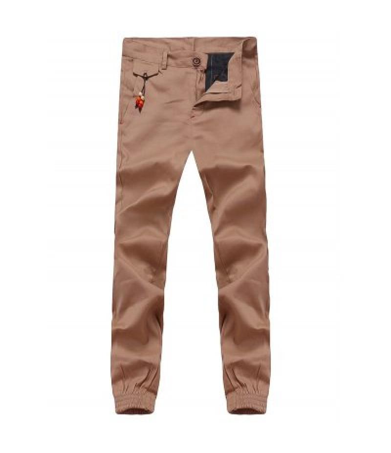 Beading Embellished Zipper Fly Chino Jogger Pants