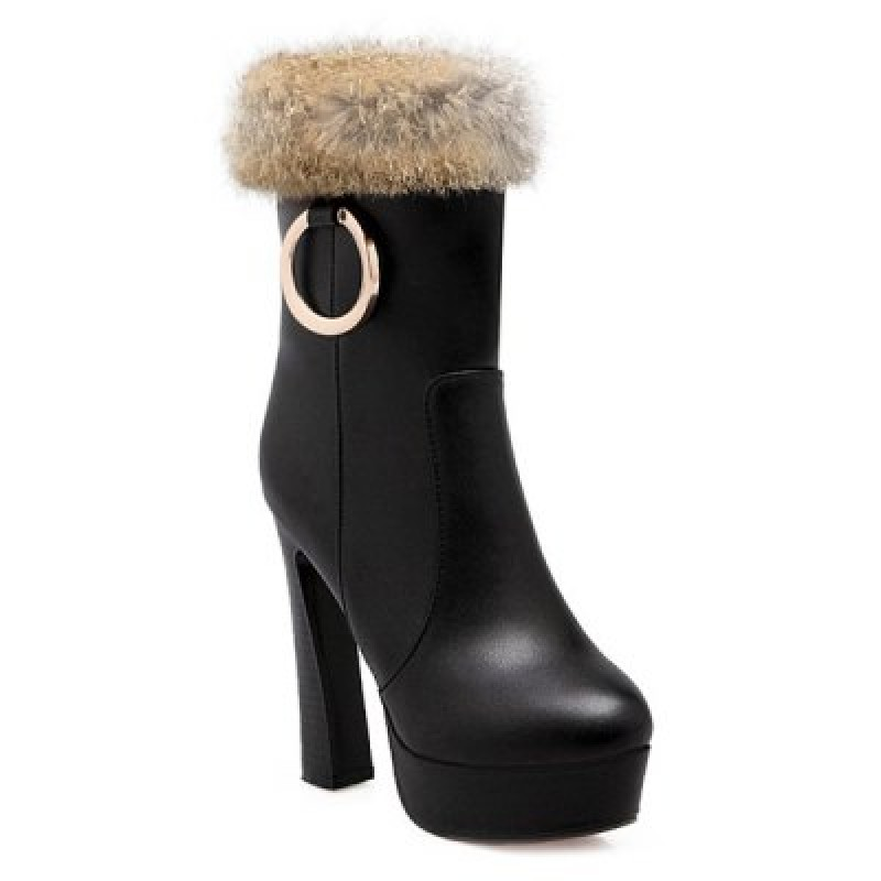 Furry Metal Ring Chunky Heel Boots