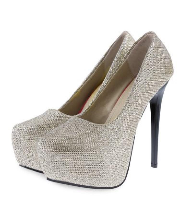 Bright Wire Design Round Toe Ladies Thin High Heel Shoes