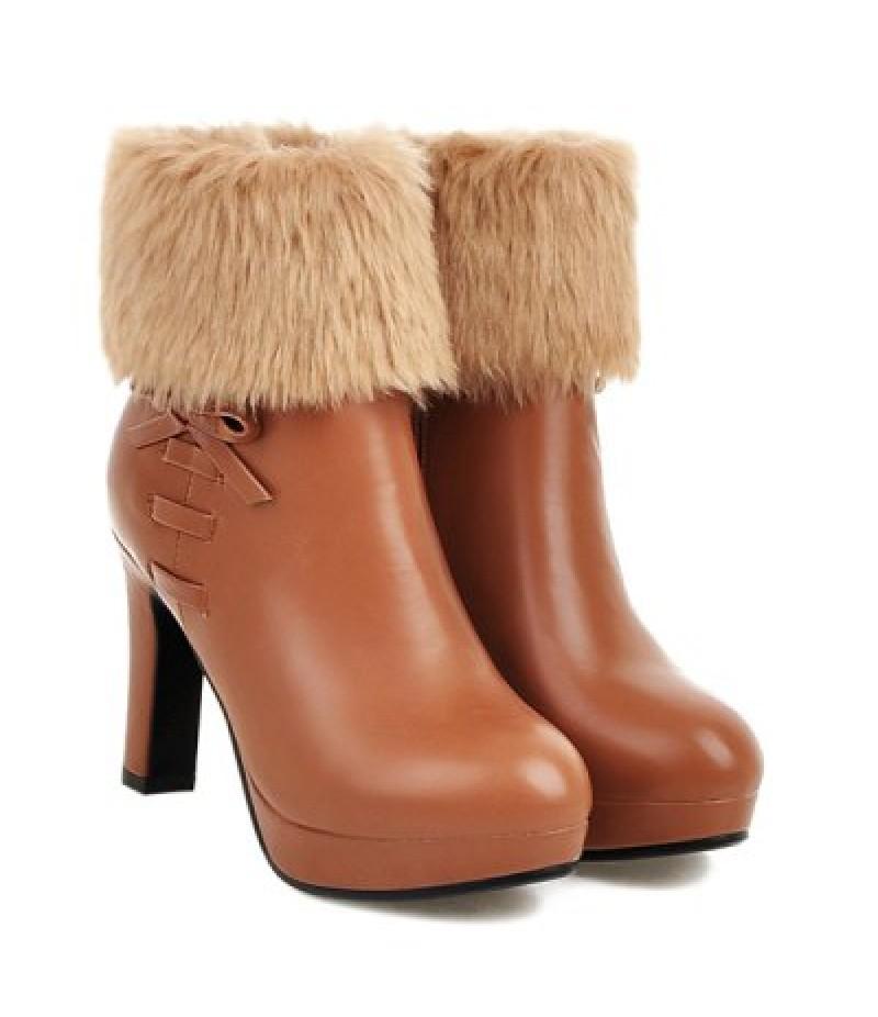 Bow Faux Fur Platform Ankle Boots