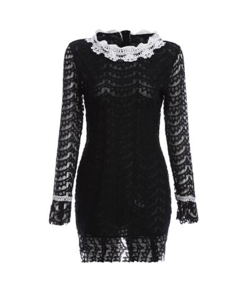Women Elegant Round Collar Lacework Design Sheath Lace Dress