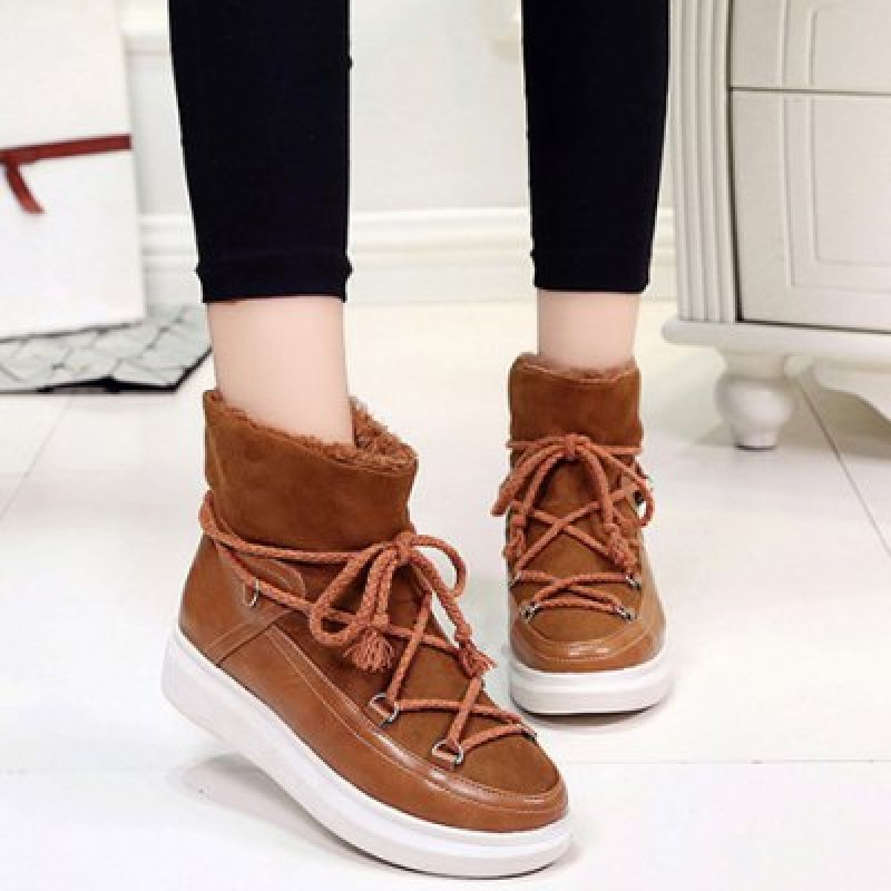 Splicing Lace-Up Platform Ankle Boots