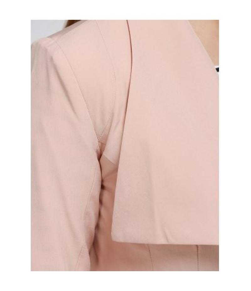 Covered Button Back Slit Blazer