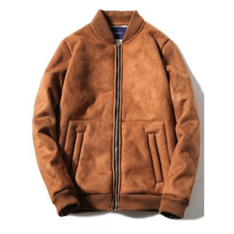 Stand Collar Fleece Zip-Up Thicken Suede Coat