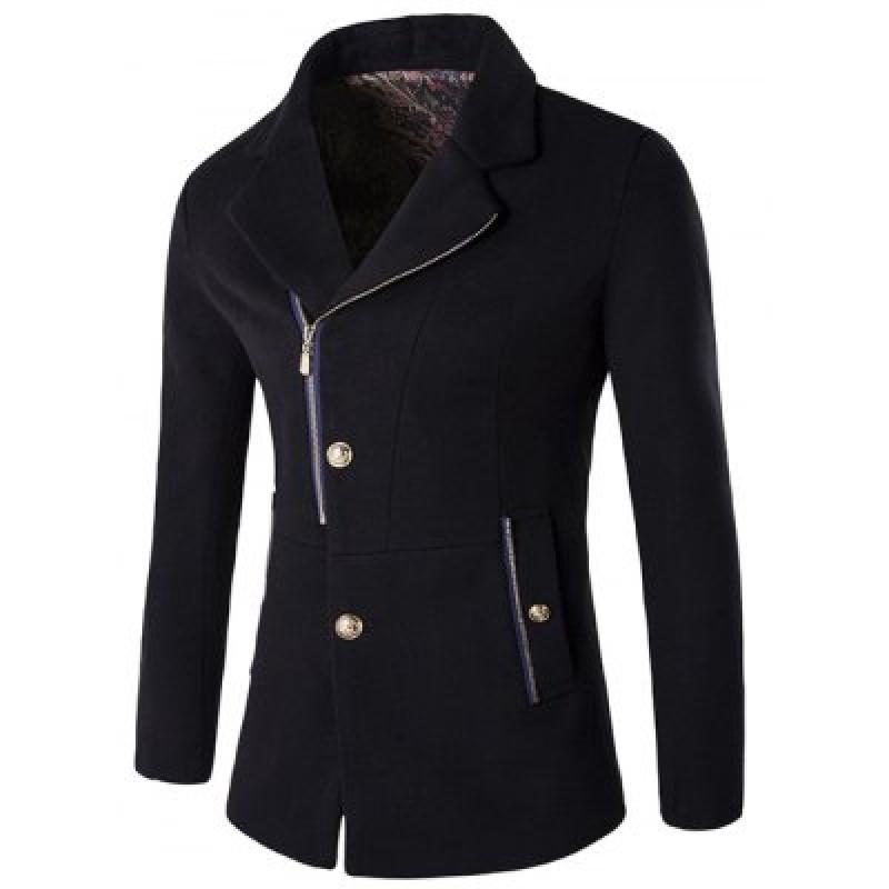 Zip + Button Fly Lapel Collar Wool Blend Coat
