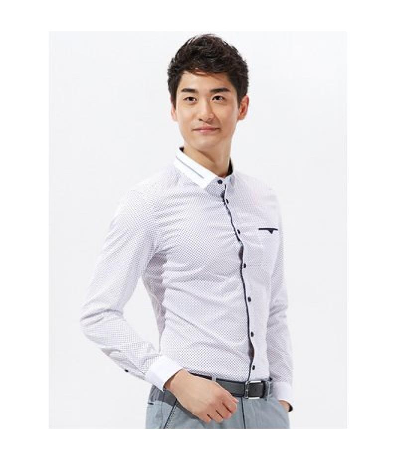 Argyle Print Long Sleeve Pocket Shirt