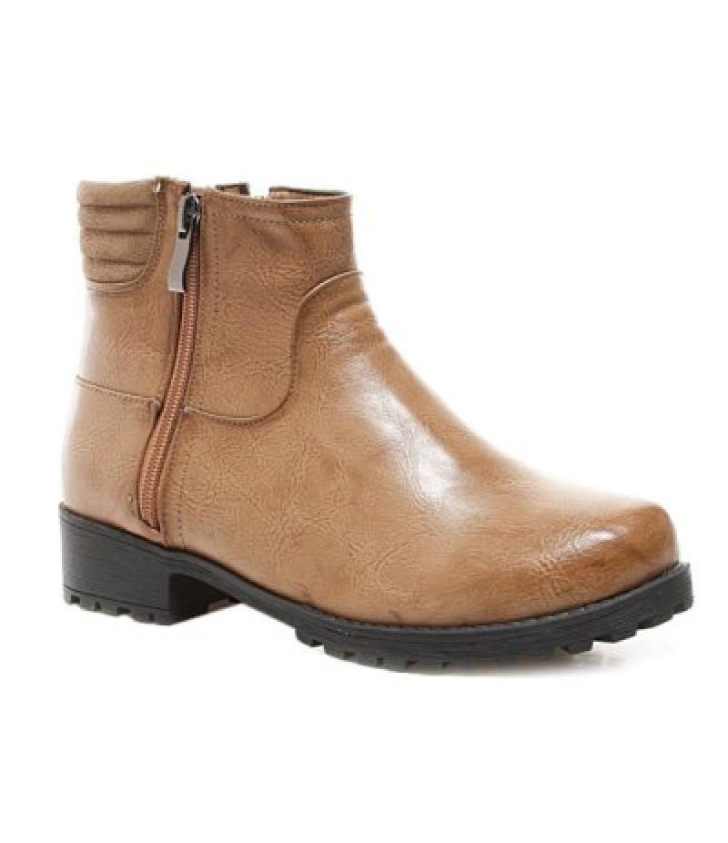Splicing Zipper Flat Heel Ankle Boots