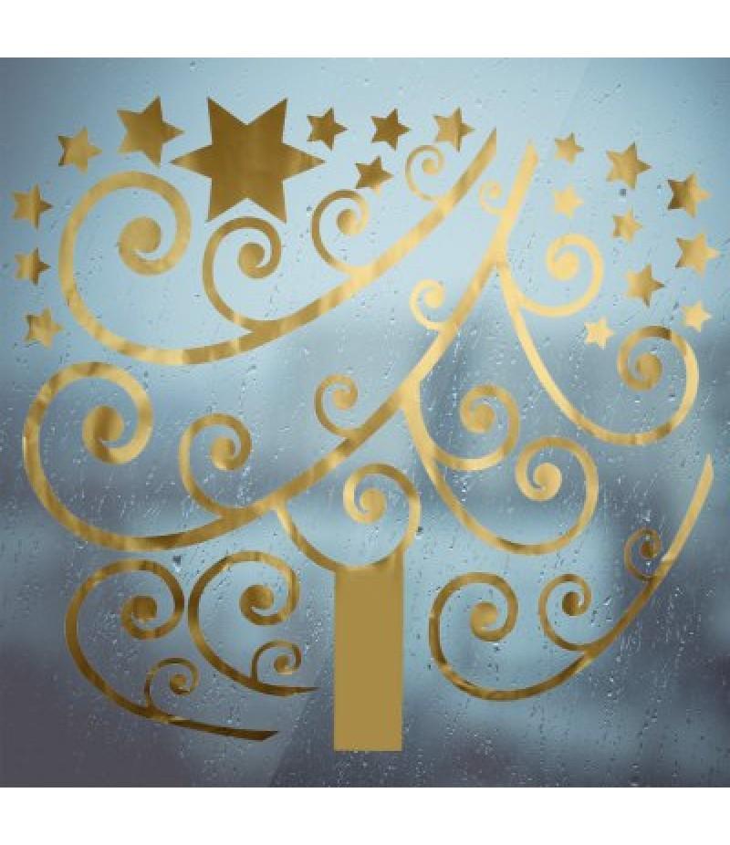 Christmas Golden Tree Bedroom Wall Stickers