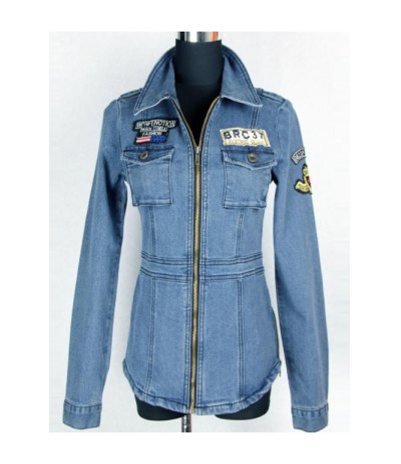 Applique Patched Pockets  Fit Denim Jacket